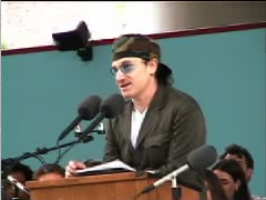 CLICK HERE for U2's lead singer, BONO, at Harvard University.  Bono addresses the class on African relief, American ideals, and rebelling against indifference. (Photo and link courtesy of Berklee College of Music and Harvard Magazine.)