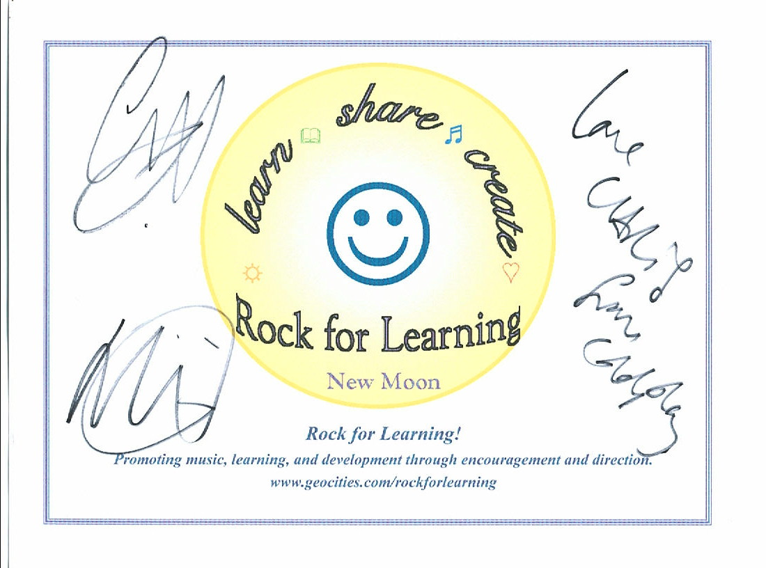 Rock for Learning endorsement from COLDPLAY.  Image copyright 2003 - Melanie Silos.  Please e-mail Rock for Learning to make a purchase offer for the original of this COLDPLAY autographed logo page.