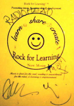 radiohead endorsement to Rock for Learning.